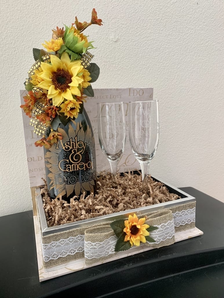 Sand Blasted Etched & Painted Wine Bottle